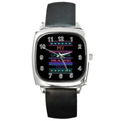 My Grandma Made This Ugly Holiday Black Background Square Metal Watch