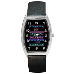 My Grandma Made This Ugly Holiday Black Background Barrel Style Metal Watch