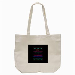 My Grandma Made This Ugly Holiday Black Background Tote Bag (Cream)