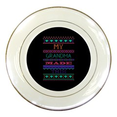 My Grandma Made This Ugly Holiday Black Background Porcelain Plates