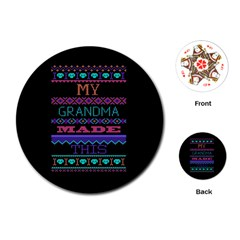 My Grandma Made This Ugly Holiday Black Background Playing Cards (Round)