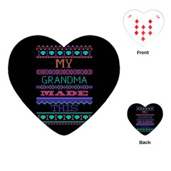 My Grandma Made This Ugly Holiday Black Background Playing Cards (Heart)