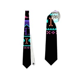 My Grandma Made This Ugly Holiday Black Background Neckties (One Side)