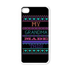 My Grandma Made This Ugly Holiday Black Background Apple Iphone 4 Case (white)