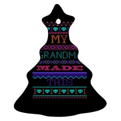 My Grandma Made This Ugly Holiday Black Background Christmas Tree Ornament (2 Sides)