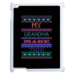 My Grandma Made This Ugly Holiday Black Background Apple iPad 2 Case (White)