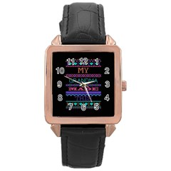 My Grandma Made This Ugly Holiday Black Background Rose Gold Leather Watch