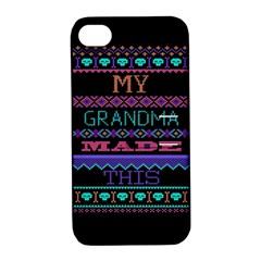 My Grandma Made This Ugly Holiday Black Background Apple iPhone 4/4S Hardshell Case with Stand