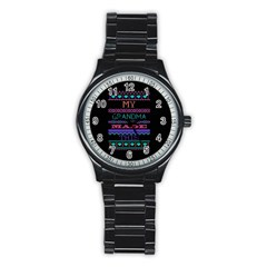 My Grandma Made This Ugly Holiday Black Background Stainless Steel Round Watch