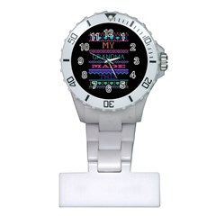 My Grandma Made This Ugly Holiday Black Background Plastic Nurses Watch