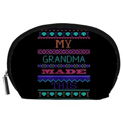 My Grandma Made This Ugly Holiday Black Background Accessory Pouches (Large)
