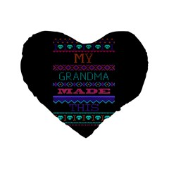 My Grandma Made This Ugly Holiday Black Background Standard 16  Premium Flano Heart Shape Cushions