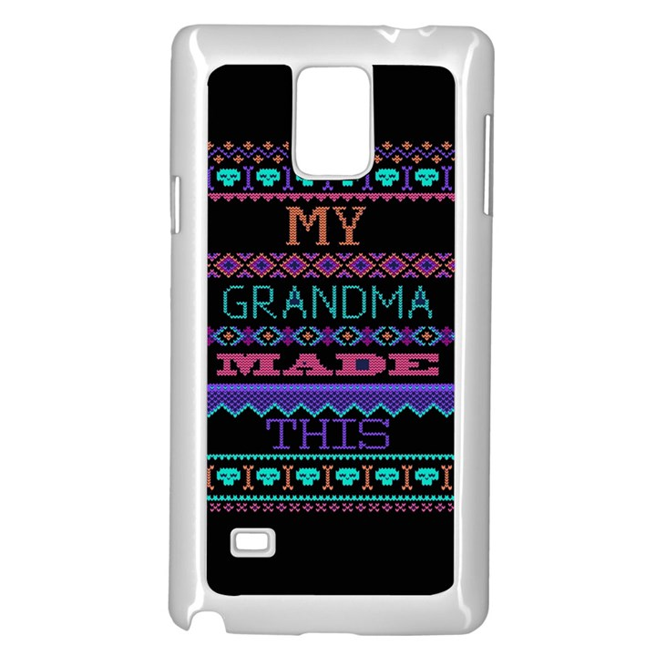 My Grandma Made This Ugly Holiday Black Background Samsung Galaxy Note 4 Case (White)