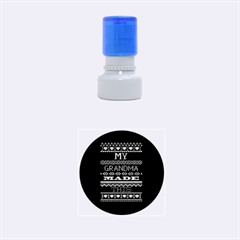 My Grandma Made This Ugly Holiday Blue Background Rubber Round Stamps (small)