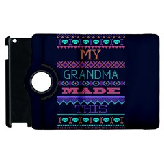 My Grandma Made This Ugly Holiday Blue Background Apple Ipad 2 Flip 360 Case