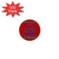 My Grandma Made This Ugly Holiday Red Background 1  Mini Buttons (100 Pack)
