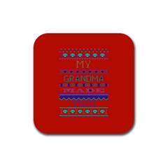 My Grandma Made This Ugly Holiday Red Background Rubber Square Coaster (4 Pack)