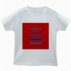 My Grandma Made This Ugly Holiday Red Background Kids White T Shirts