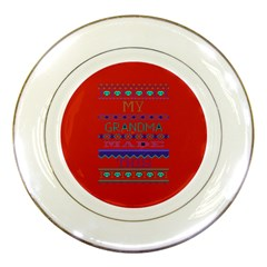 My Grandma Made This Ugly Holiday Red Background Porcelain Plates