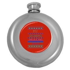My Grandma Made This Ugly Holiday Red Background Round Hip Flask (5 Oz)