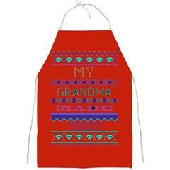 My Grandma Made This Ugly Holiday Red Background Full Print Aprons