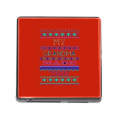 My Grandma Made This Ugly Holiday Red Background Memory Card Reader (square)