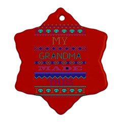 My Grandma Made This Ugly Holiday Red Background Ornament (snowflake)