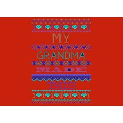 My Grandma Made This Ugly Holiday Red Background Birthday Cake 3D Greeting Card (7x5)