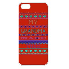 My Grandma Made This Ugly Holiday Red Background Apple Iphone 5 Seamless Case (white)