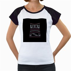 Old School Ugly Holiday Christmas Black Background Women s Cap Sleeve T