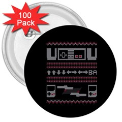 Old School Ugly Holiday Christmas Black Background 3  Buttons (100 pack)