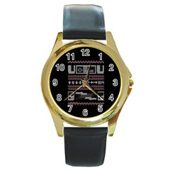 Old School Ugly Holiday Christmas Black Background Round Gold Metal Watch