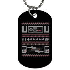 Old School Ugly Holiday Christmas Black Background Dog Tag (Two Sides)