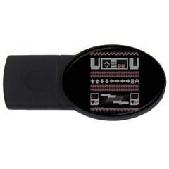 Old School Ugly Holiday Christmas Black Background USB Flash Drive Oval (1 GB)