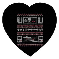 Old School Ugly Holiday Christmas Black Background Jigsaw Puzzle (heart)