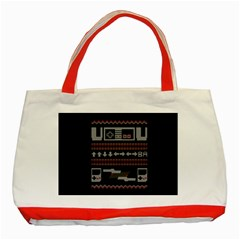 Old School Ugly Holiday Christmas Black Background Classic Tote Bag (Red)