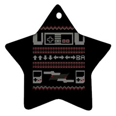Old School Ugly Holiday Christmas Black Background Star Ornament (two Sides)