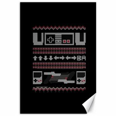 Old School Ugly Holiday Christmas Black Background Canvas 12  x 18