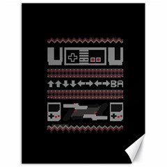 Old School Ugly Holiday Christmas Black Background Canvas 18  x 24