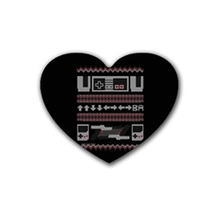 Old School Ugly Holiday Christmas Black Background Rubber Coaster (heart)