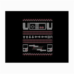 Old School Ugly Holiday Christmas Black Background Small Glasses Cloth (2-Side)