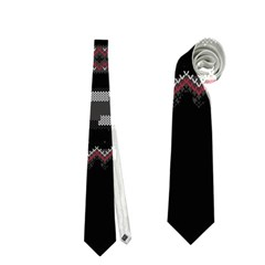 Old School Ugly Holiday Christmas Black Background Neckties (one Side)