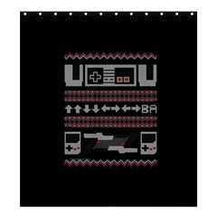 Old School Ugly Holiday Christmas Black Background Shower Curtain 66  X 72  (large)