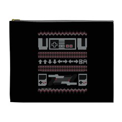 Old School Ugly Holiday Christmas Black Background Cosmetic Bag (XL)