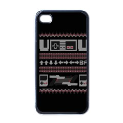 Old School Ugly Holiday Christmas Black Background Apple iPhone 4 Case (Black)