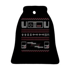 Old School Ugly Holiday Christmas Black Background Bell Ornament (2 Sides)