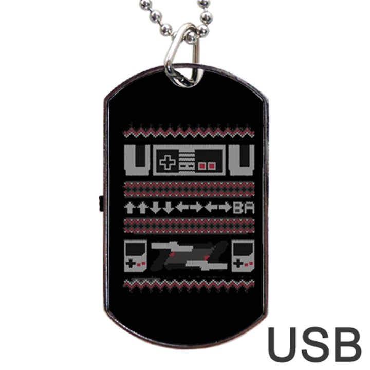 Old School Ugly Holiday Christmas Black Background Dog Tag USB Flash (One Side)