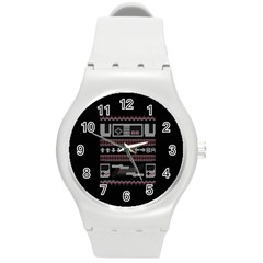 Old School Ugly Holiday Christmas Black Background Round Plastic Sport Watch (m)