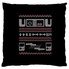 Old School Ugly Holiday Christmas Black Background Large Cushion Case (Two Sides)