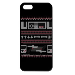 Old School Ugly Holiday Christmas Black Background Apple Iphone 5 Seamless Case (black)